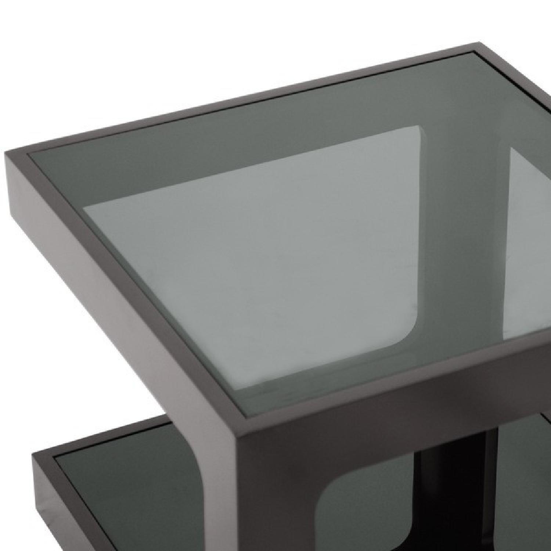 Black Modern End Tables w/ Glass Shelves - image-3