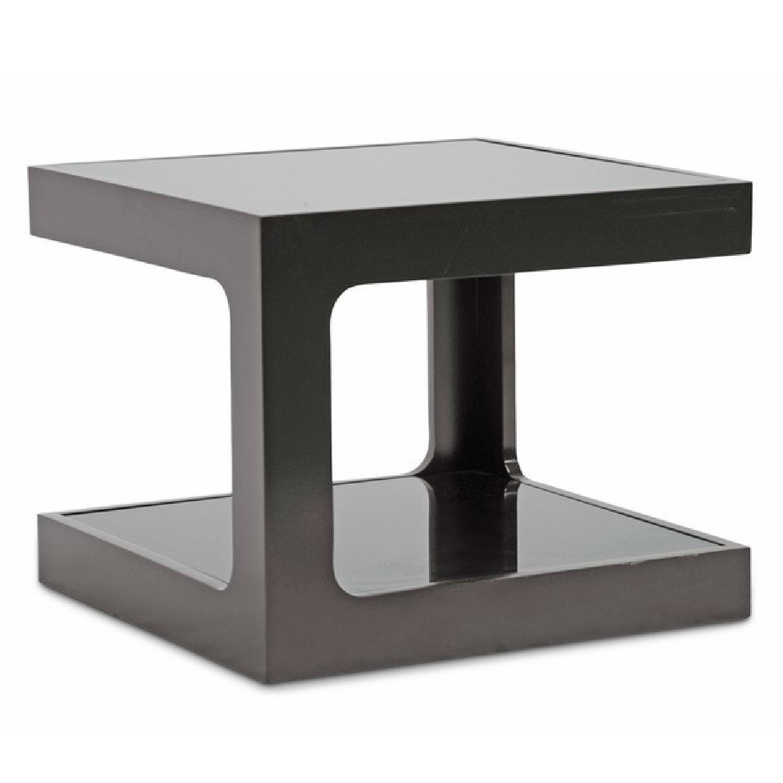 Black Modern End Tables w/ Glass Shelves - image-4