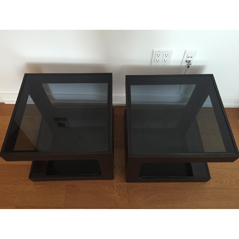 Black Modern End Tables w/ Glass Shelves - image-5