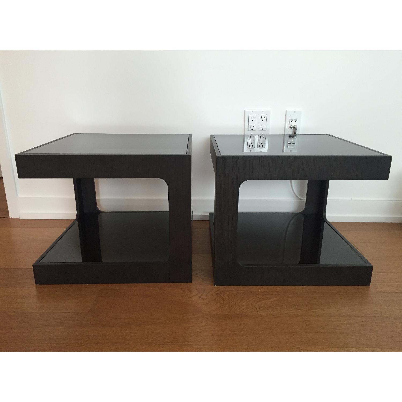 Black Modern End Tables w/ Glass Shelves - image-6