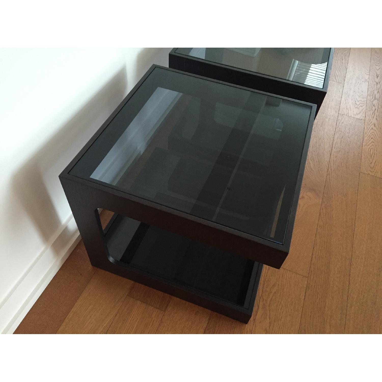 Black Modern End Tables w/ Glass Shelves - image-7