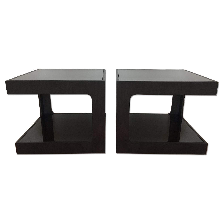 Black Modern End Tables w/ Glass Shelves - image-0