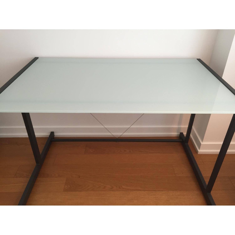 Crate & Barrel Glass Top Desk w/ Graphite Legs - image-1