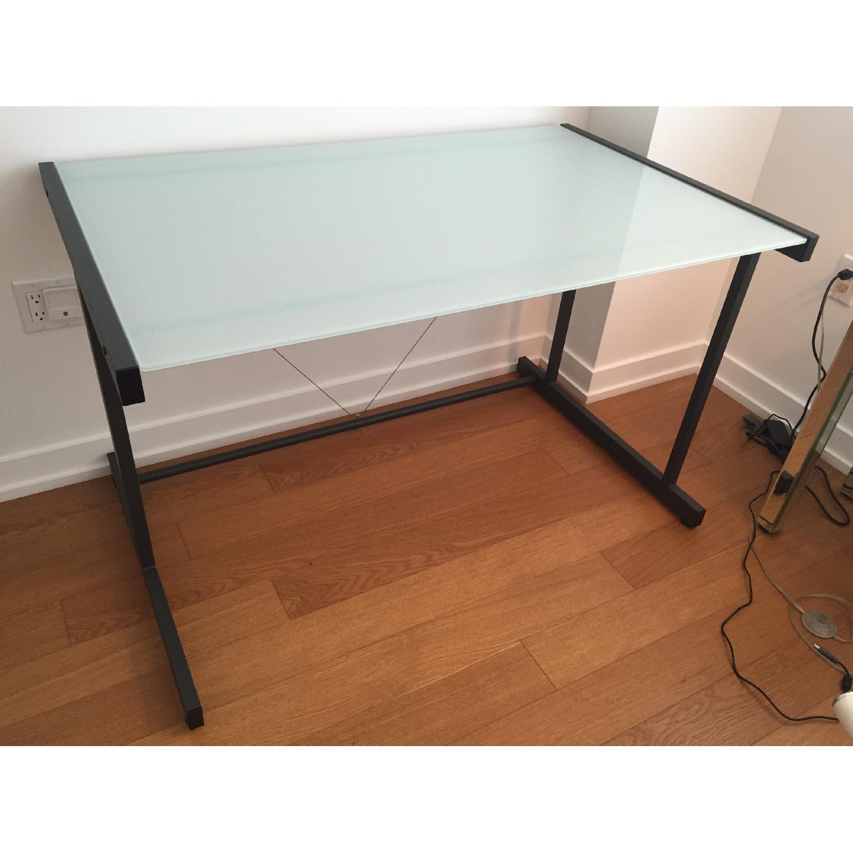 Crate & Barrel Glass Top Desk w/ Graphite Legs - image-2