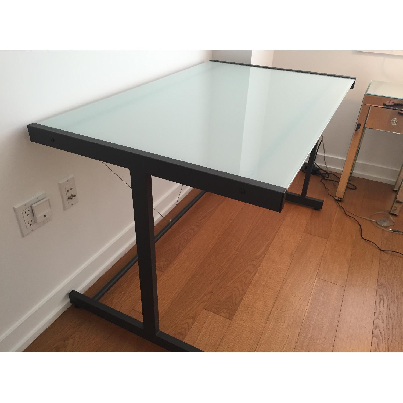 Crate & Barrel Glass Top Desk w/ Graphite Legs - image-3