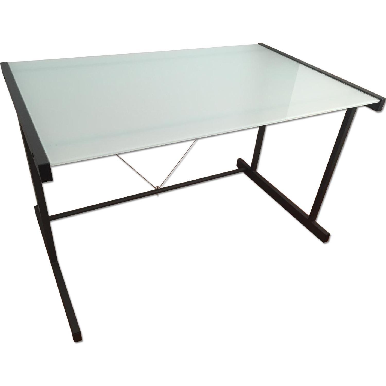 Crate & Barrel Glass Top Desk w/ Graphite Legs - image-0