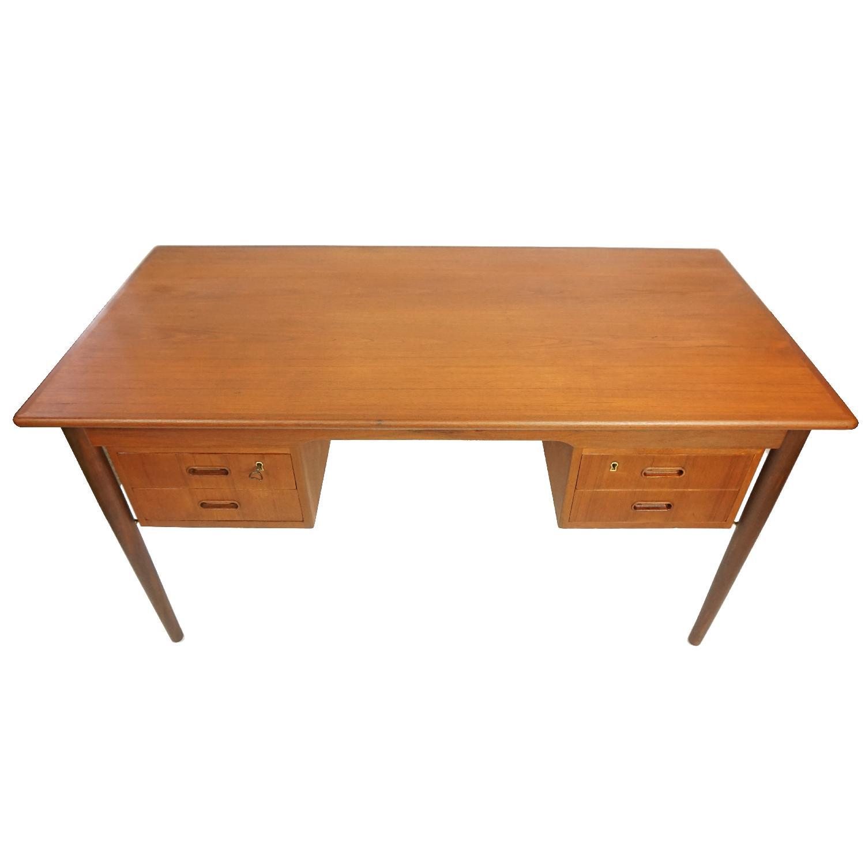 Gitte Four Drawer Teak Desk w/ Open Back - image-1
