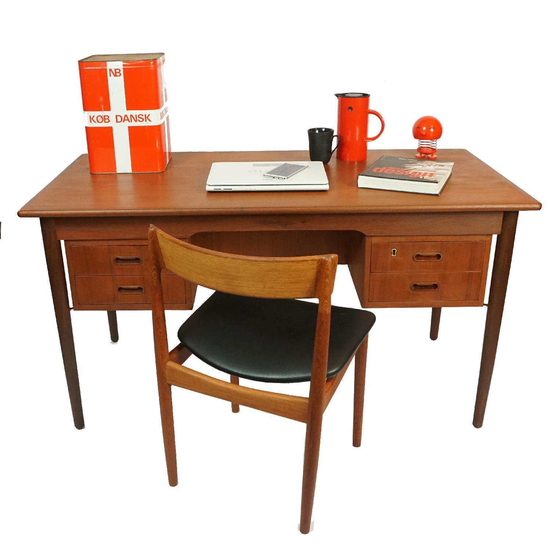 Gitte Four Drawer Teak Desk w/ Open Back - image-4