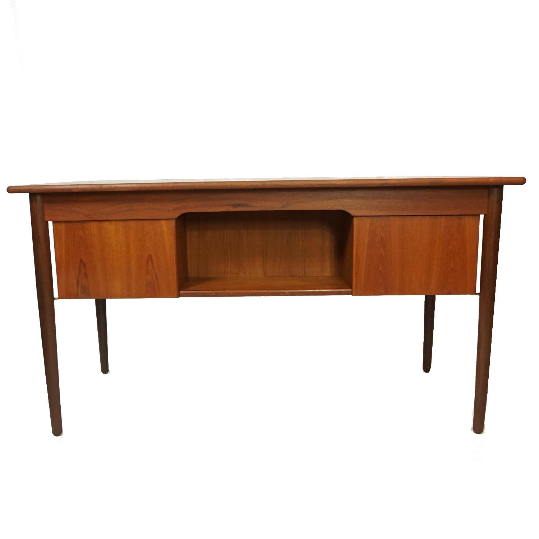 Gitte Four Drawer Teak Desk w/ Open Back - image-5
