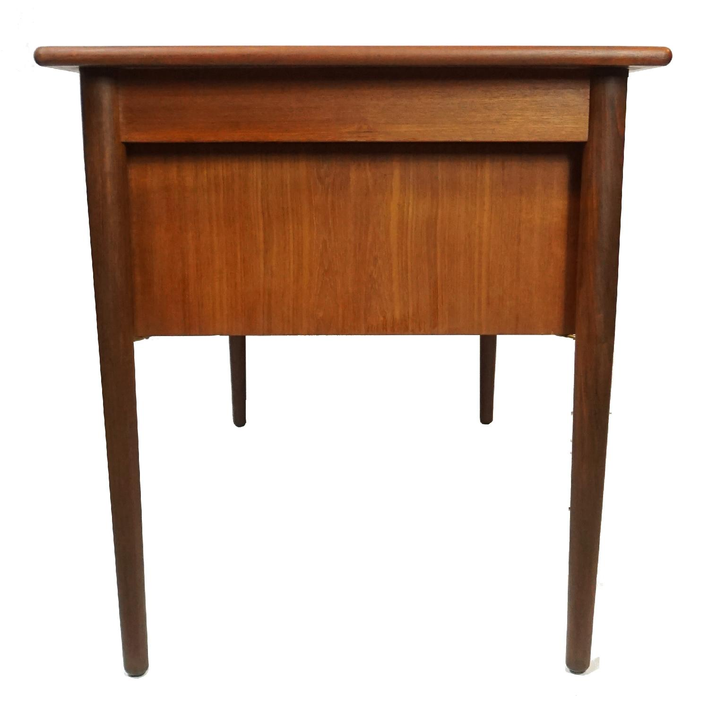Gitte Four Drawer Teak Desk w/ Open Back - image-6
