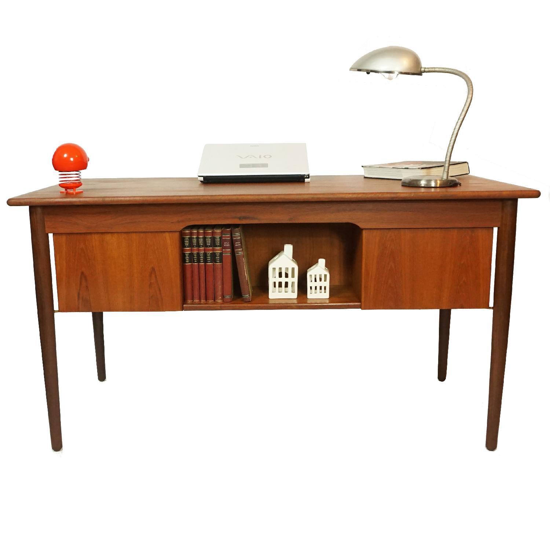Gitte Four Drawer Teak Desk w/ Open Back - image-7