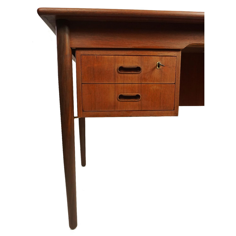Gitte Four Drawer Teak Desk w/ Open Back - image-8