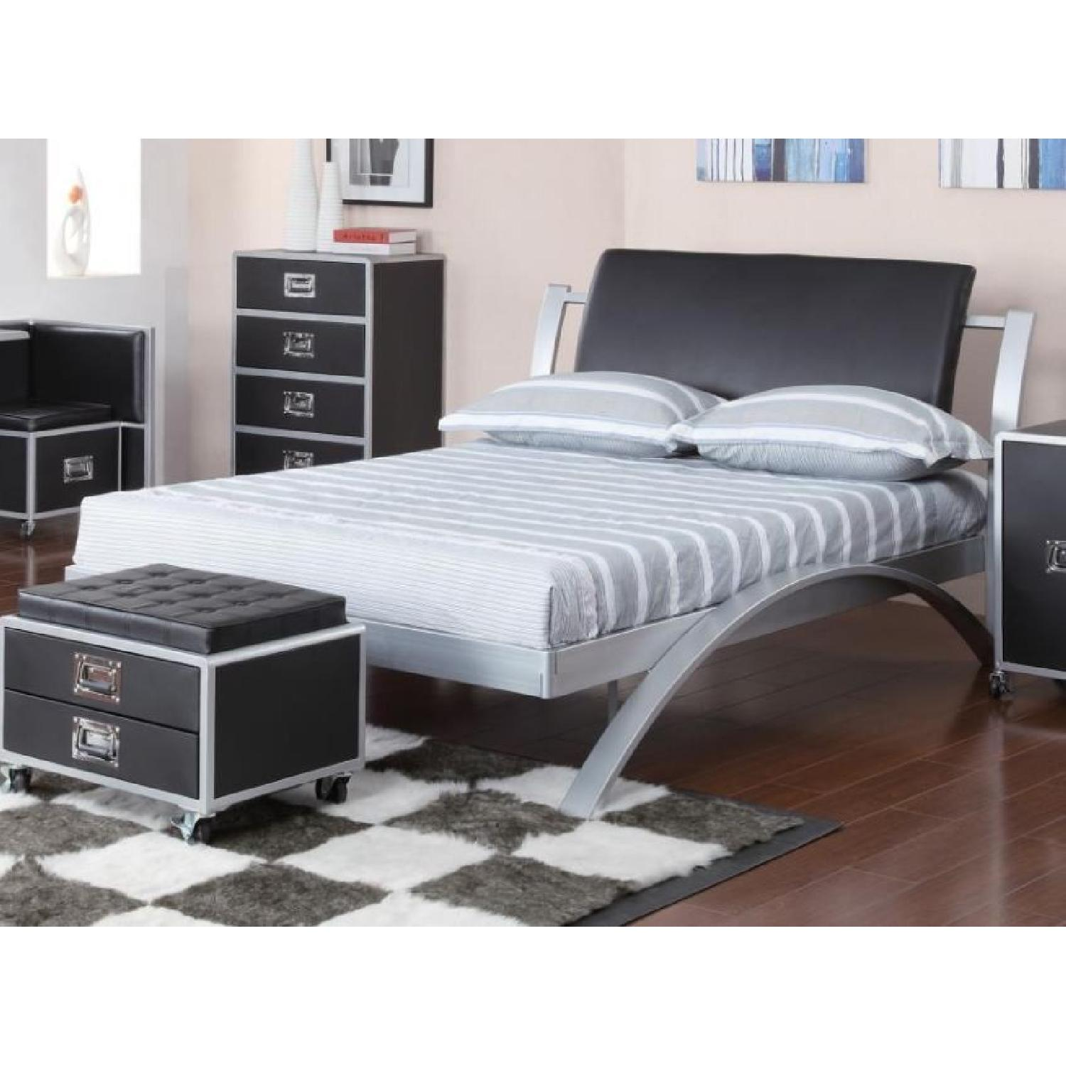 Full Size Metal Platform Bed in Contemporary Industrial Desi - image-1