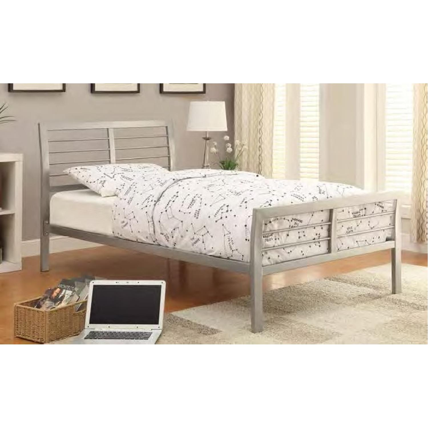 Modern Queen Size Metal Platform Bed in Silver Finish - image-1