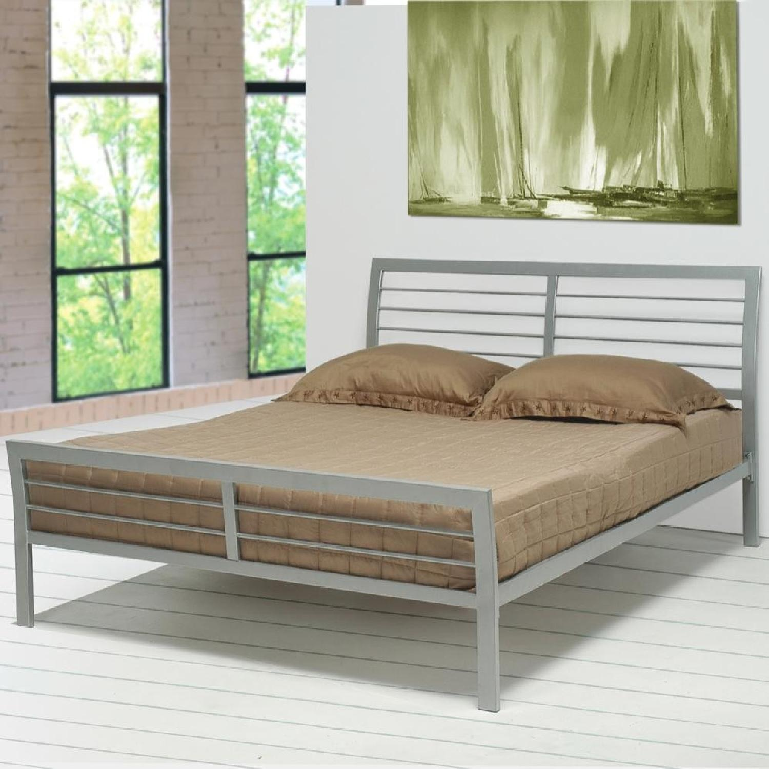 Modern Queen Size Metal Platform Bed in Silver Finish - image-2