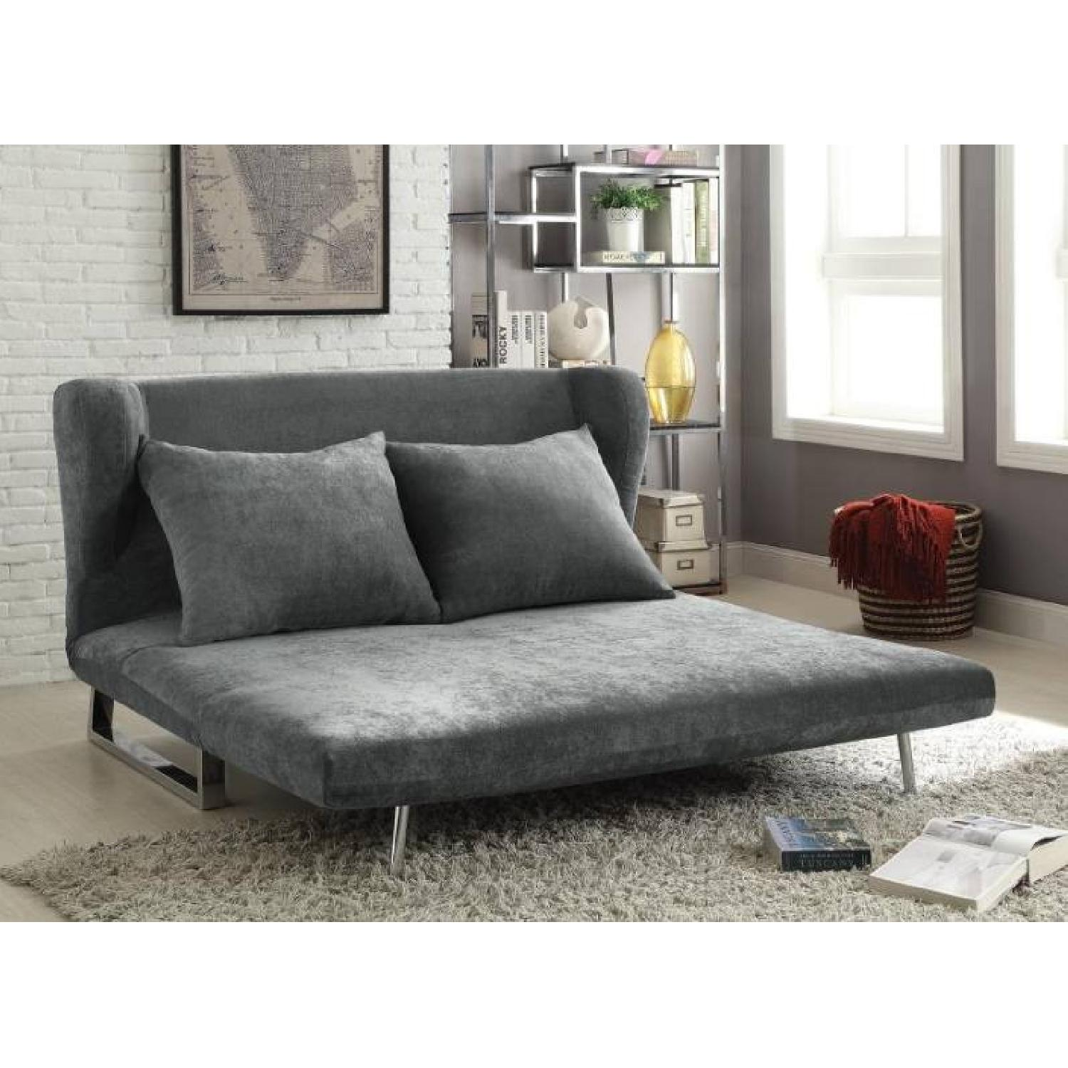 Multi-Function Convertible Sofabed in Velvet Grey Microsuede - image-2