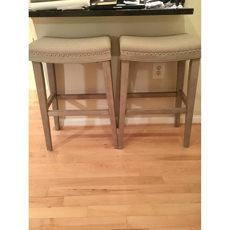 Gray Upholstered Barstools - image-1