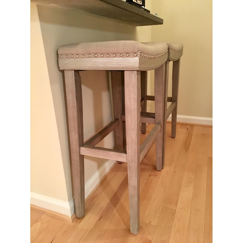 Gray Upholstered Barstools - image-3