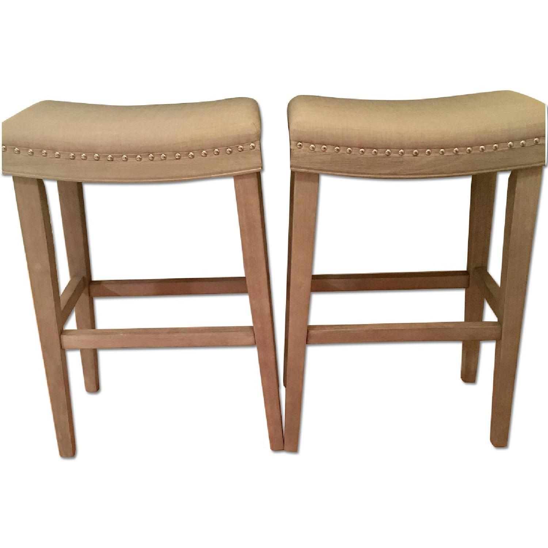 Gray Upholstered Barstools - image-0