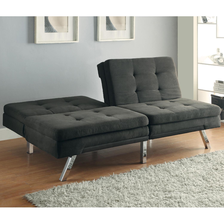 Modern Tufted Split-Back Sofabed in Charcoal Microfiber - image-1