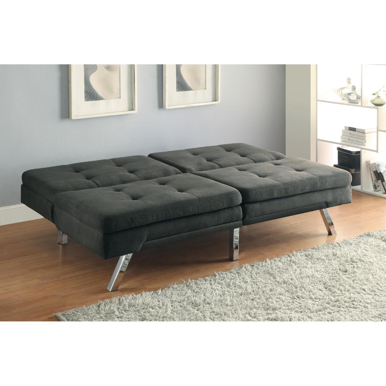 Modern Tufted Split-Back Sofabed in Charcoal Microfiber - image-2