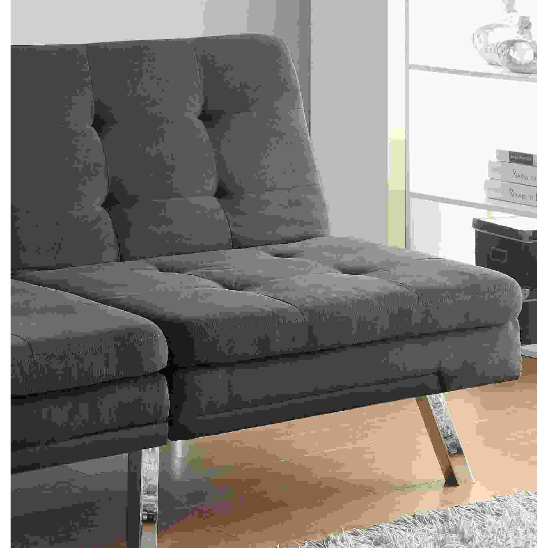Modern Tufted Split-Back Sofabed in Charcoal Microfiber - image-3