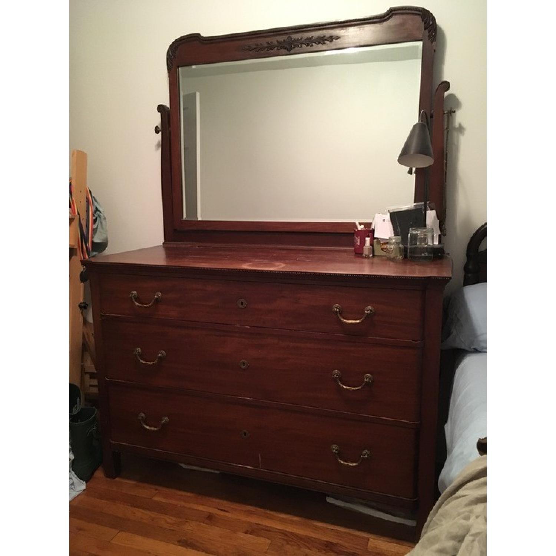 Antique Victorian Mahogany Dresser w/ Mirror - image-1