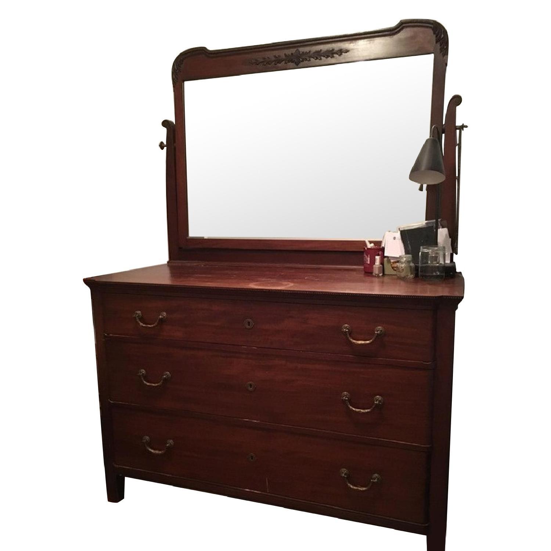 Antique Victorian Mahogany Dresser w/ Mirror - image-0
