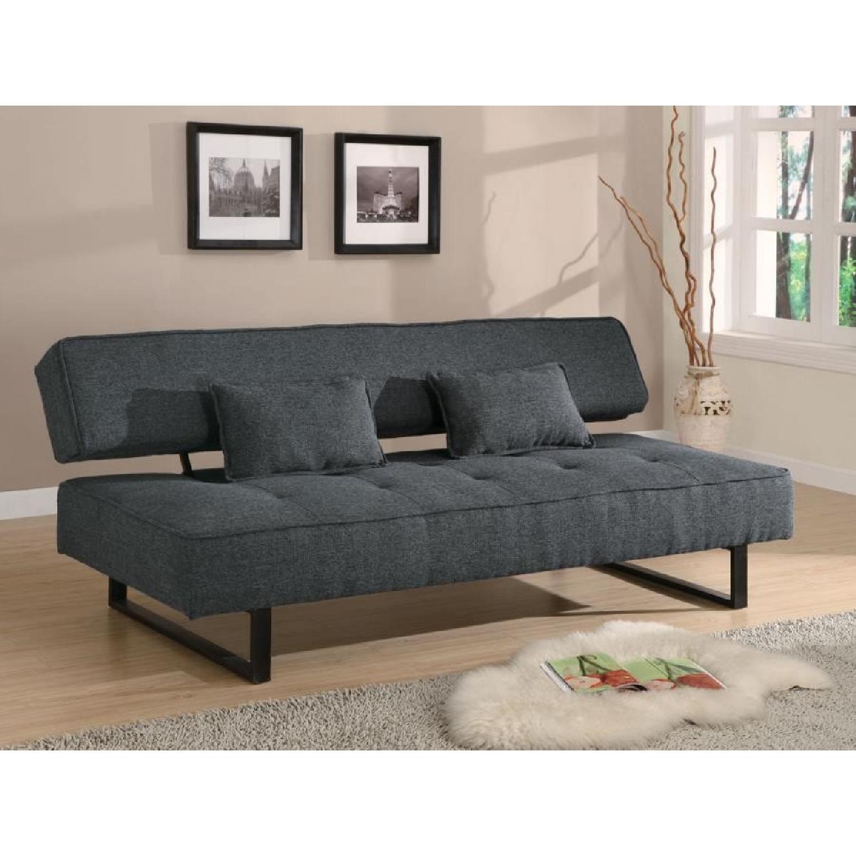 Modern Convertible Sofa in Tweed-Like Fabric - image-1