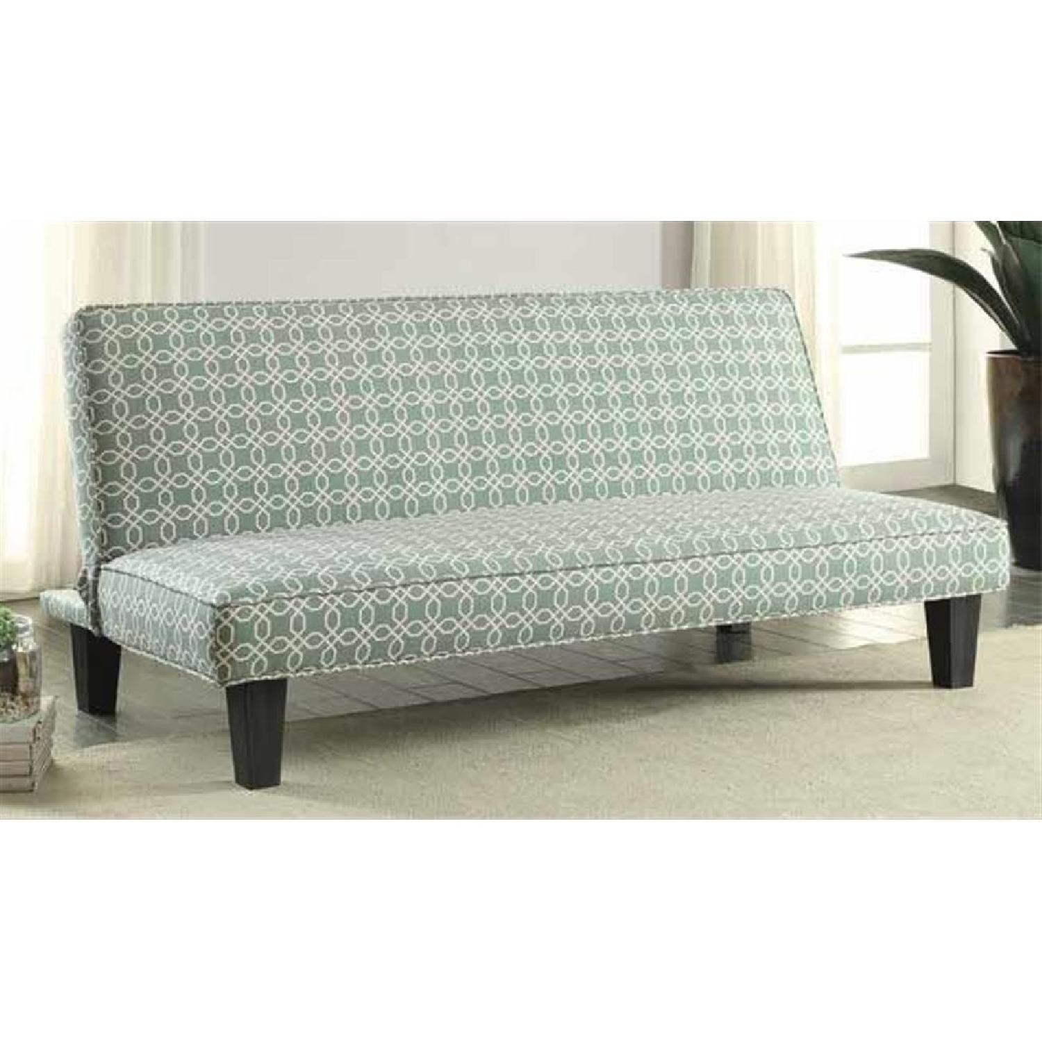Convertible Sofabed in Teal Fabric - image-1