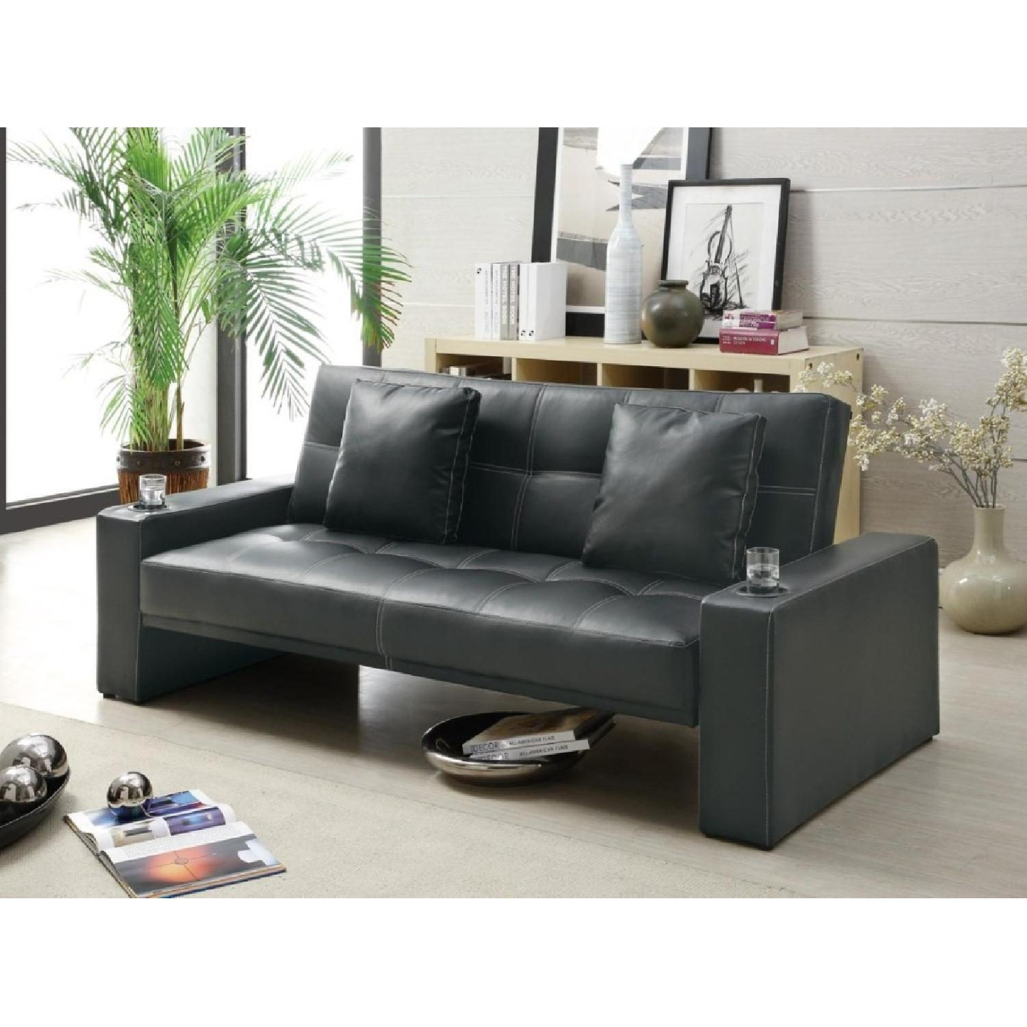 Sofabed in Black w/ Armrest Cupholders & 2 Accent Pillows - image-1