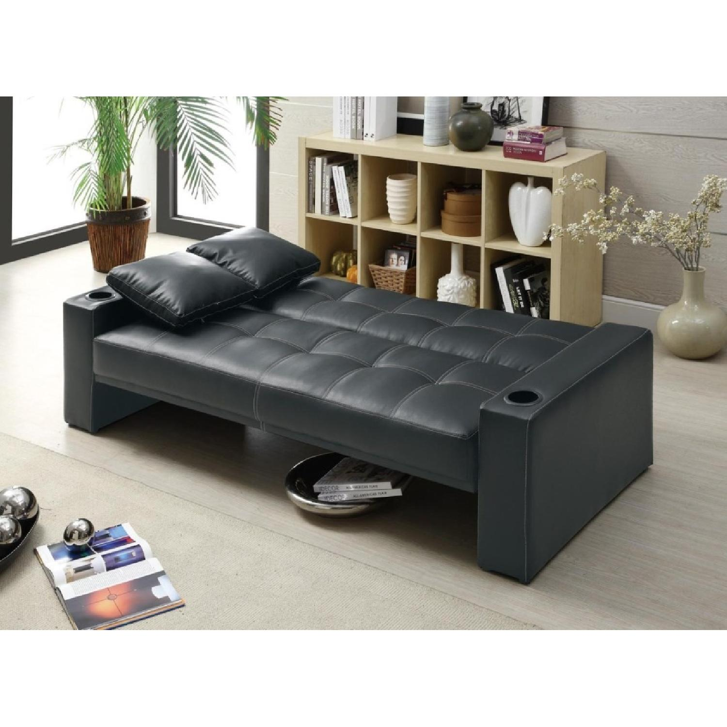 Sofabed in Black w/ Armrest Cupholders & 2 Accent Pillows - image-2