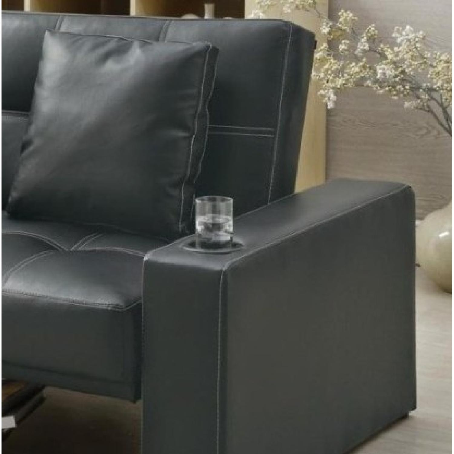 Sofabed in Black w/ Armrest Cupholders & 2 Accent Pillows - image-3