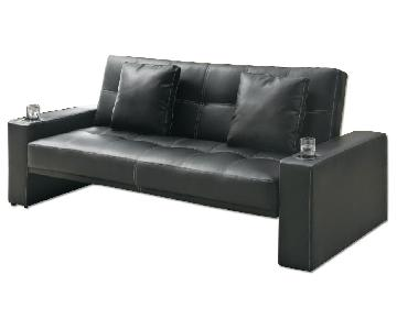 Sofabed in Black w/ Armrest Cupholders & 2 Accent Pillows