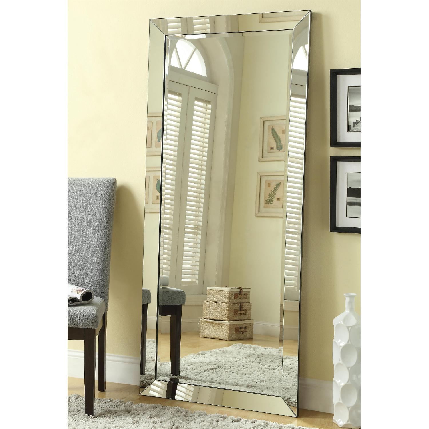 Contemporary Full Length Floor Mirror W Beveled Edge