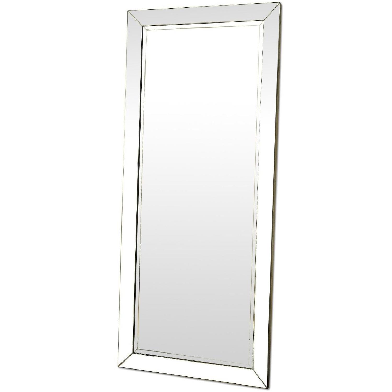 Contemporary Full Length Floor Mirror w/ Beveled Edge - image-0