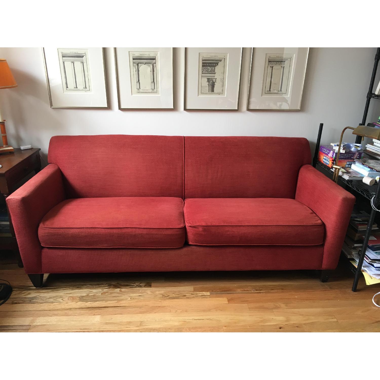 Crate & Barrel Red Fabric Sofa - image-1