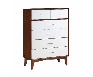 Mid-Century Style Chest of Drawers in Golden Brown-White Fin