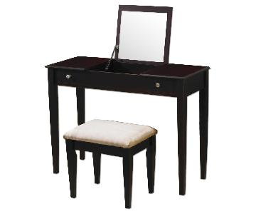 Vanity w/ Hidden Mirror & Storage Compartment & Stool in Espresso Finish