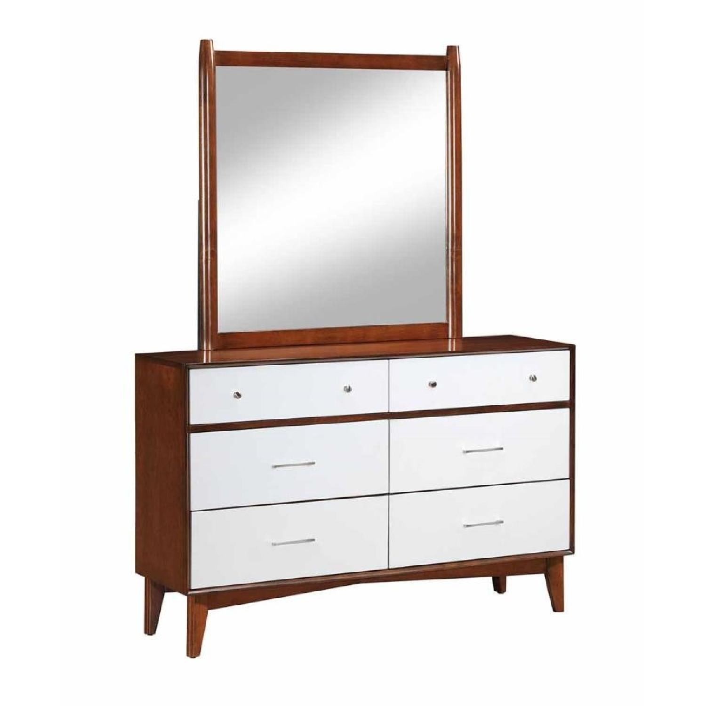 Mid-Century Style Dresser in Golden Brown-White Finish w/ Brush Nickel Handles - image-1
