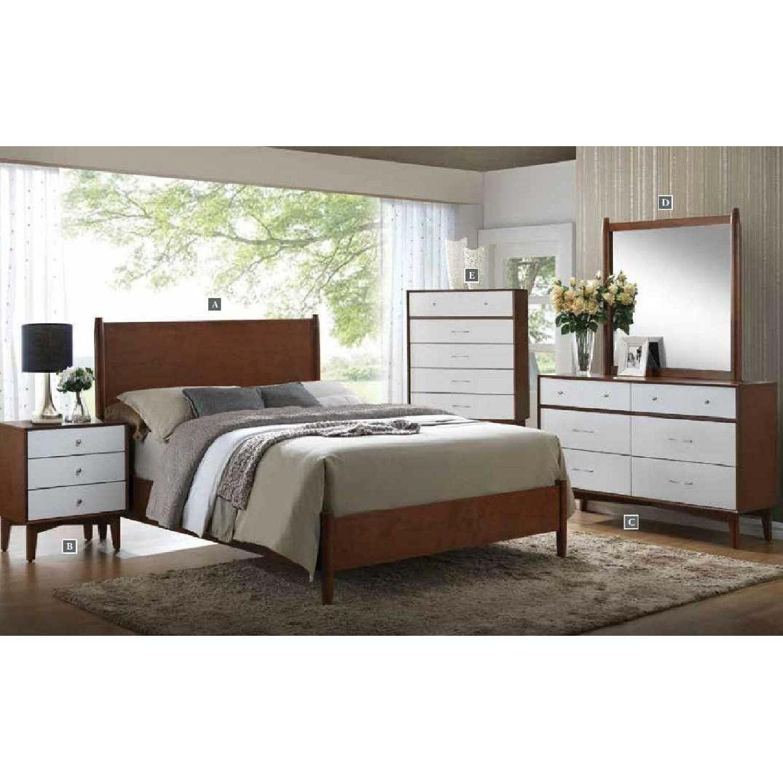 Mid-Century Style Dresser in Golden Brown-White Finish w/ Brush Nickel Handles - image-2