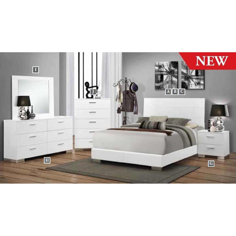6-Drawer Dresser in High Gloss White Finish w/ Chrome Metal  - image-2