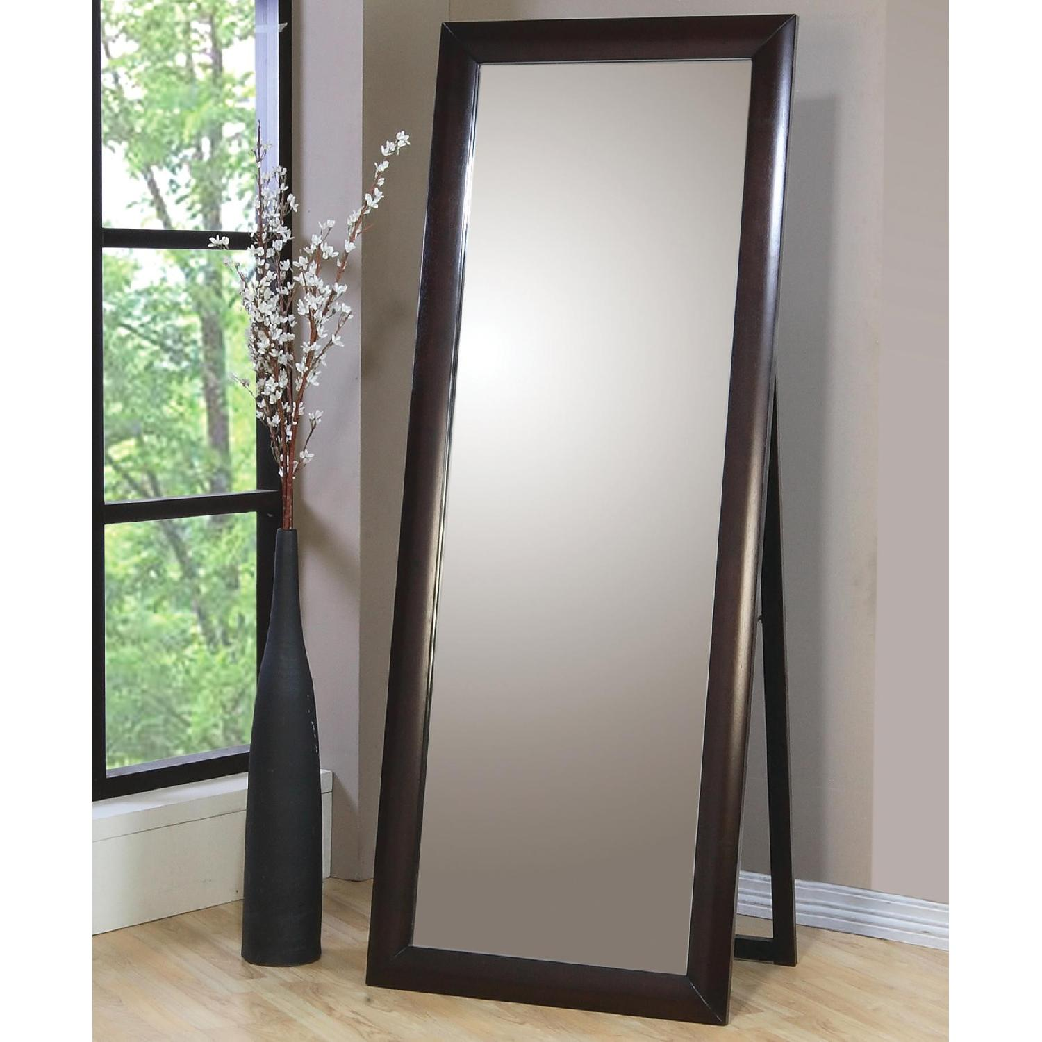 Contemporary Standing Floor Mirror in Warm Brown Finish - image-1