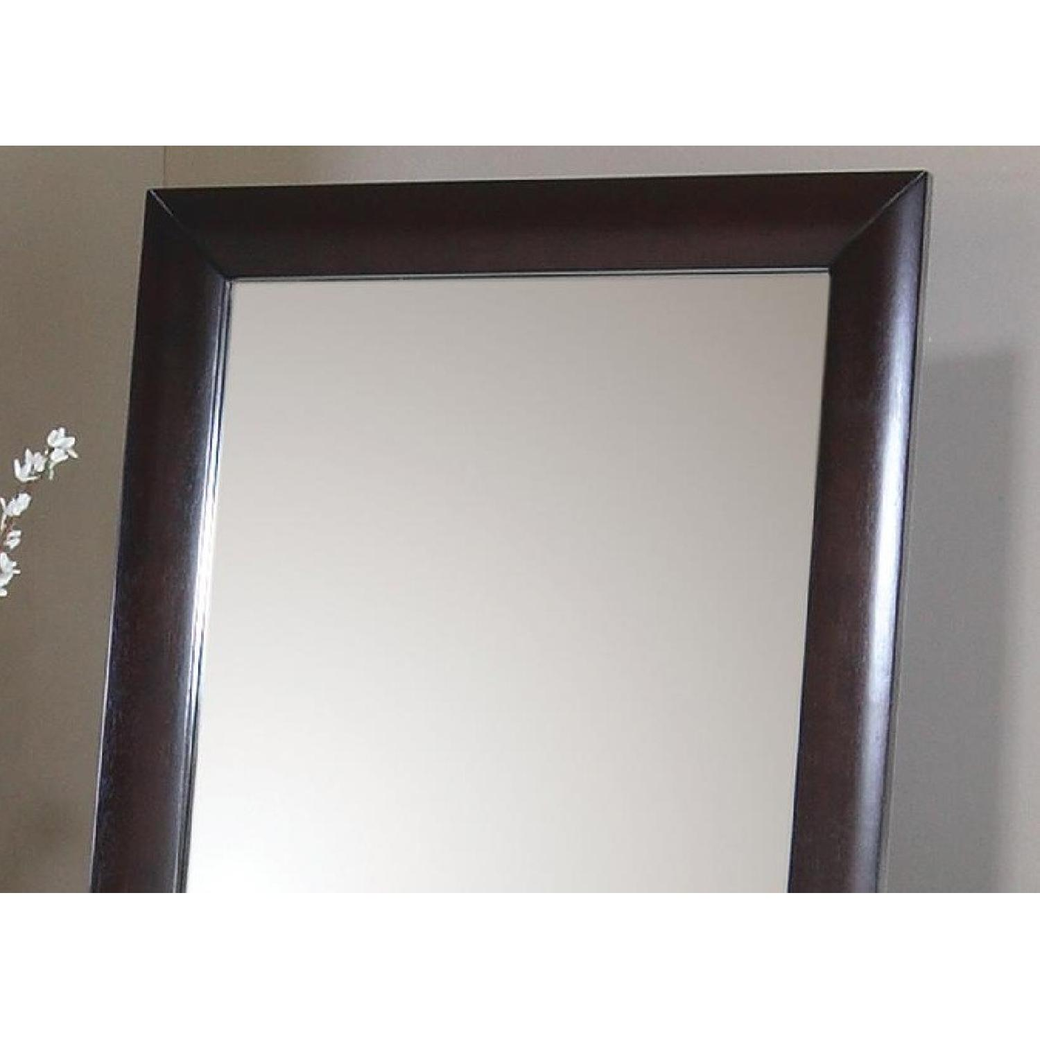 Contemporary Standing Floor Mirror in Warm Brown Finish - image-2