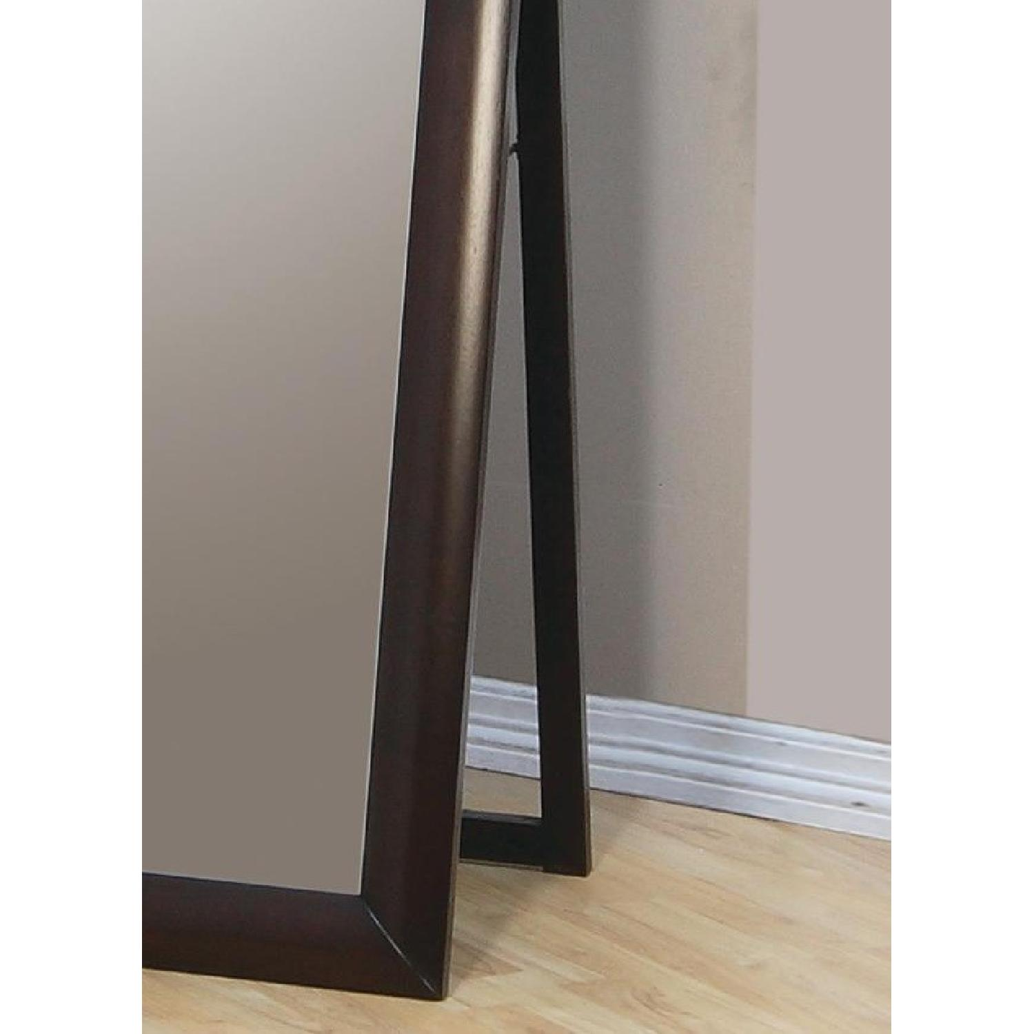 Contemporary Standing Floor Mirror in Warm Brown Finish - image-3