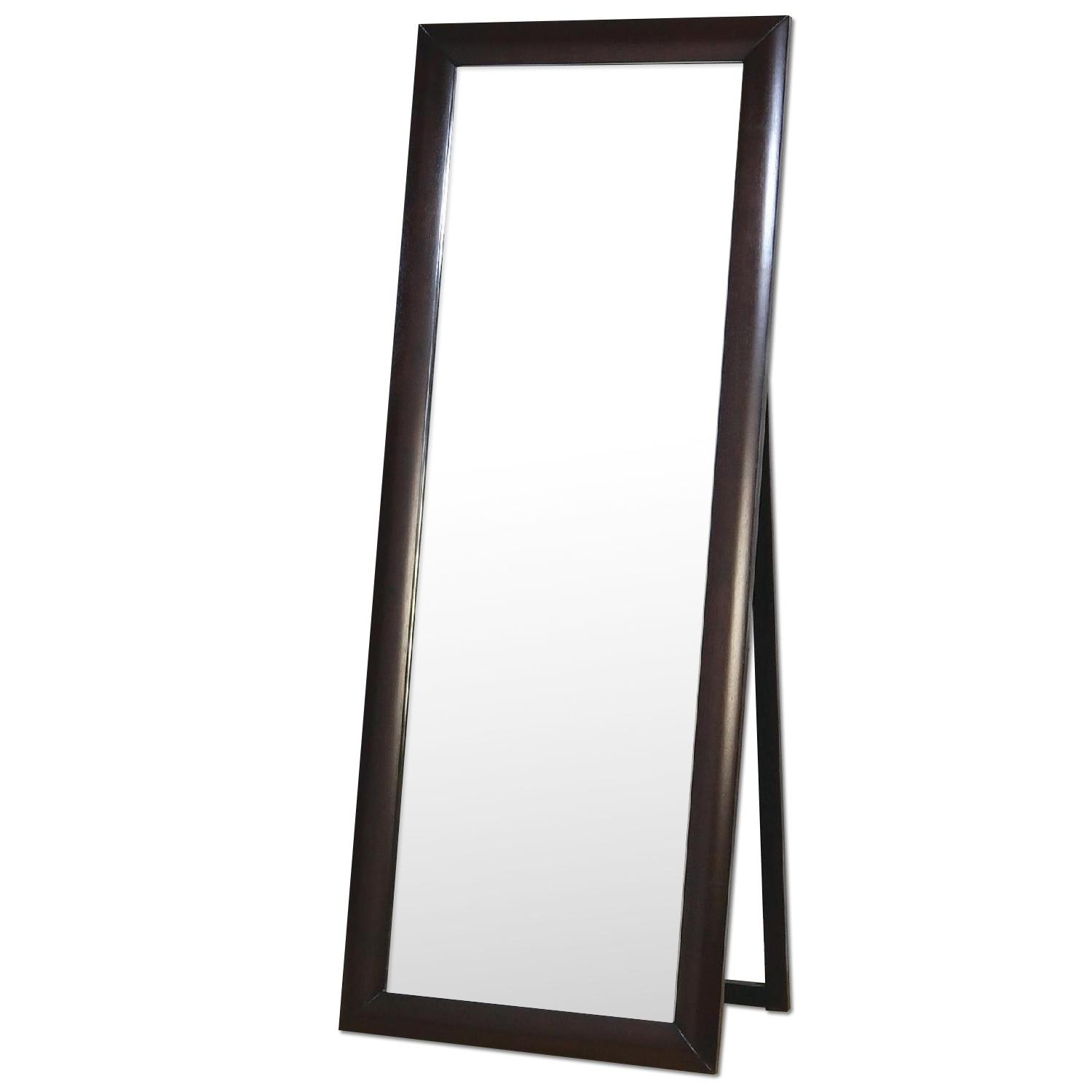 Contemporary Standing Floor Mirror in Warm Brown Finish - image-0