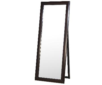 Contemporary Standing Floor Mirror in Warm Brown Finish