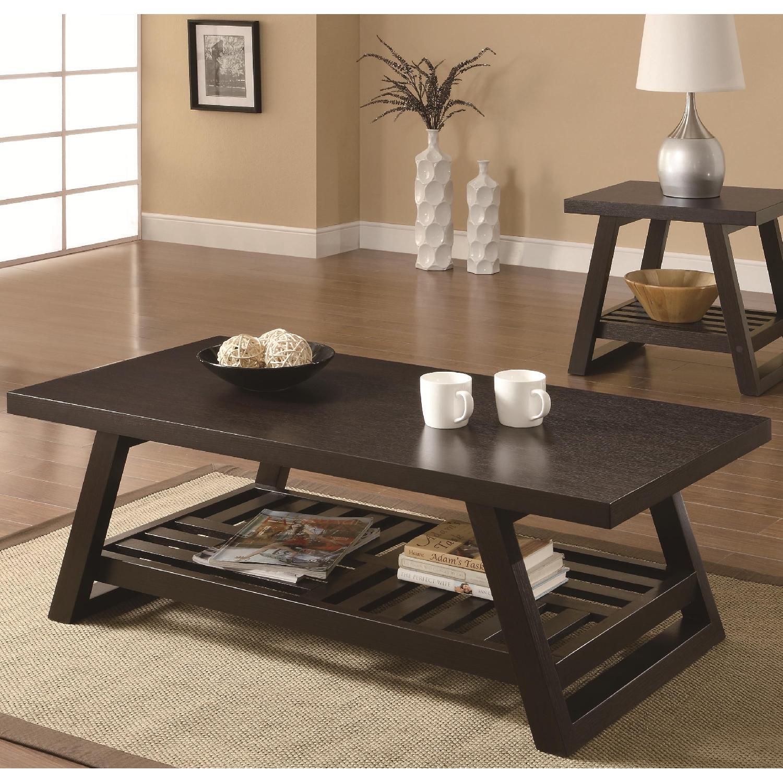 Espresso Finish Coffee Table w/ Storage Shelf - image-2