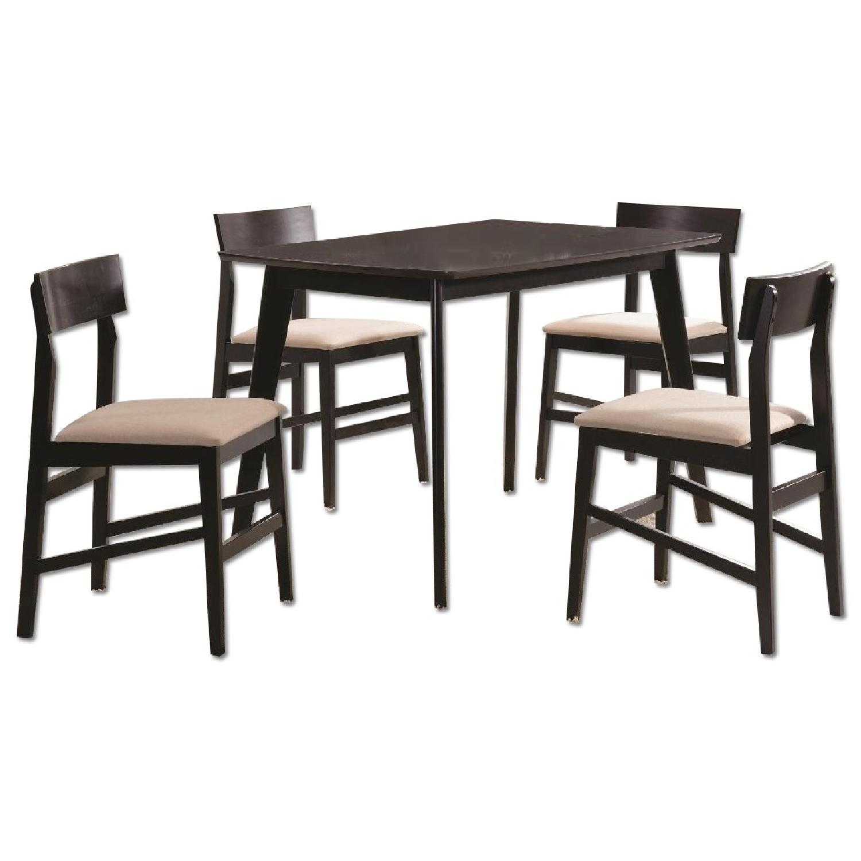 Contemporary 5 Piece Dining Set in Espresso Finish - image-0