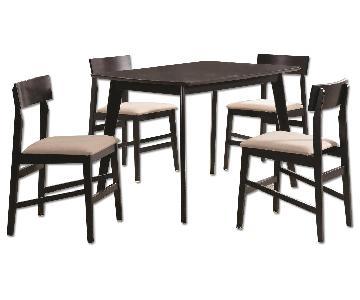 Contemporary 5 Piece Dining Set in Espresso Finish